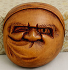 Japanese Meiji Period Carved Wood Netsuke Noh Mask Usofuki Hyottoko
