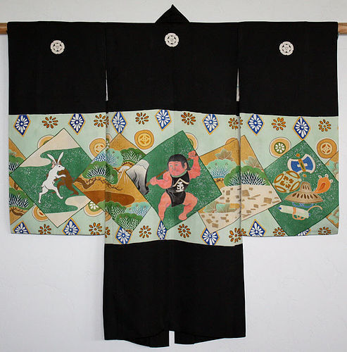 Japanese Taisho Silk Child's Kimono Kintaro Rabbit Monkey Wrestling
