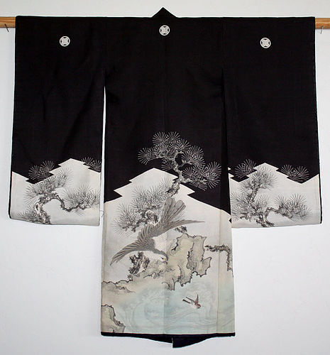 Japanese Antique Child's Formal Winter Kimono Falcon Hawk Chidori
