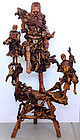 "Massive 54.5""H Chinese Qing Root Wood Figural Group Carving Immortal"