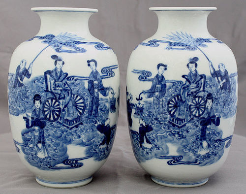 Pair Chinese Qing to Republic Blue & White Porcelain Vases Xiwangmu