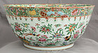 Large Chinese Qing Dynasty Famille Rose Export Porcelain Punch Bowl