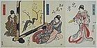 Japanese Edo Woodblock Print Kuniyoshi Triptych Ladies