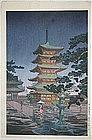 Japanese Shin Hanga Woodblock Print Koitsu Rain Horyuji Temple Doi