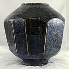 Large Korean Choson Yi Temmoku Glaze 10-faceted Jar 19c