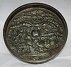 Japanese Edo Bronze Mirror Kagami Tortoise Crane Pine