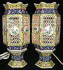 Pair Chinese Qing Famille Rose Porcelain Wedding Lamps Lanterns