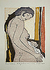 Japanese Ltd. Ed. Woodblock Print Hideo Hagiwara Nude