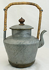 Antique Qing to Republic Chinese Pewter Brass Teapot