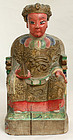 Chinese Qing Daoist Wood Figure Household Altar Diety God