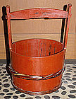 Large Japanese Mingei Lacquered Wood Water Bucket Pail