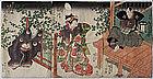 Japanese Edo Woodblock Print Triptych Kunisada Actors