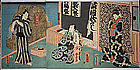 Japanese Edo Woodblock Print Triptych - Kunisada Actor