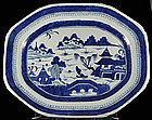 """17.5"""" Chinese Ca. 1820 Canton Export Blue White Platter"""