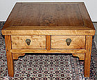 Chinese Qing Elm Wood Low Square Table Four Drawers