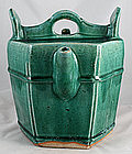 Large Qing Chinese Green Glazed Shiwan Pottery Teapot