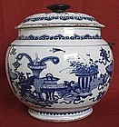 Chinese Kangxi Export Porcelain Blue & White Cover Jar
