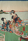 Japanese Edo Woodblock Print Kunisada Beauties Nobility