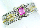 Two Color Art Deco Filigree Bracelet with Pink Stone
