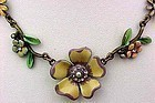 Vintage Ben Amun Enameled Flower Necklace