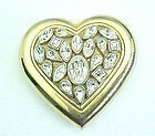 Heart Shaped Yves St. Laurent Rhinestone Powder Compact