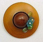 Art Deco Bakelite Brooch - Hat Shaped