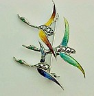 Art Deco Sterling Enameled German Pin with Marcasites