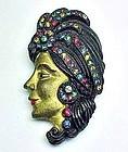 Art Deco Painted Wood Sultan or Sultana Brooch