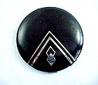 Real Art Deco Black Enamel and Chrome Compact