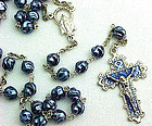 Beautiful Blue Pearlized and Silver Rosary