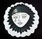 Pierrot Brooch - Black and White JMP from France