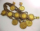 Miriam Haskell Russian Gold Faux Coin Parure