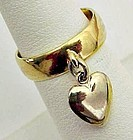 Gold Toned Metal Ring with Heart Dangle