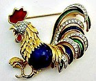 Colorful Enamel and Rhinestone Rooster with Attitude