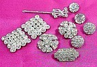 Art Deco Lot of Rhinestone Buttons and Pins