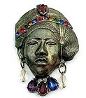 Large Art Deco Base Metal, Jeweled Face Pin