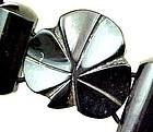 Whitby Jet Shamrock Bracelet - Stretch