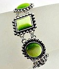 Thermoset Green and Silver Colored Bracelet