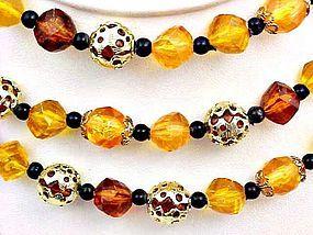 Triple Strand Choker - Fall Colored Beads