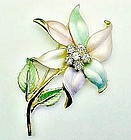 Large Pastel Flower Brooch with Rhinestones