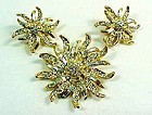 Sparkling Gold Colored and Clear rhinestone Demi-Parure