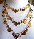 Kate Spade Gold Toned Triple Strand Paillette Necklace