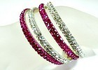 Four Lovina Rhinestone Bangles - Red and Clear -NWT