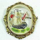 Very Old French Galalith Brooch - Carved & Painted