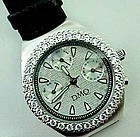 DMQ Diamonte Watch with Black Leather Band