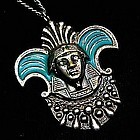 Egyptian Revival Silver Toned Enameled Pendant Necklace