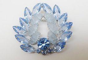 Light Blue Unfoiled Glass Rhinestone Brooch