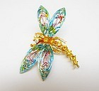 Colorful ART Dragon Fly Pin with Rhinestones