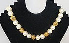 Napier Glass Pearl and Gold Colored Bead Necklace