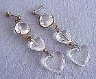 Heart Lucite-Long Dangle Earrings